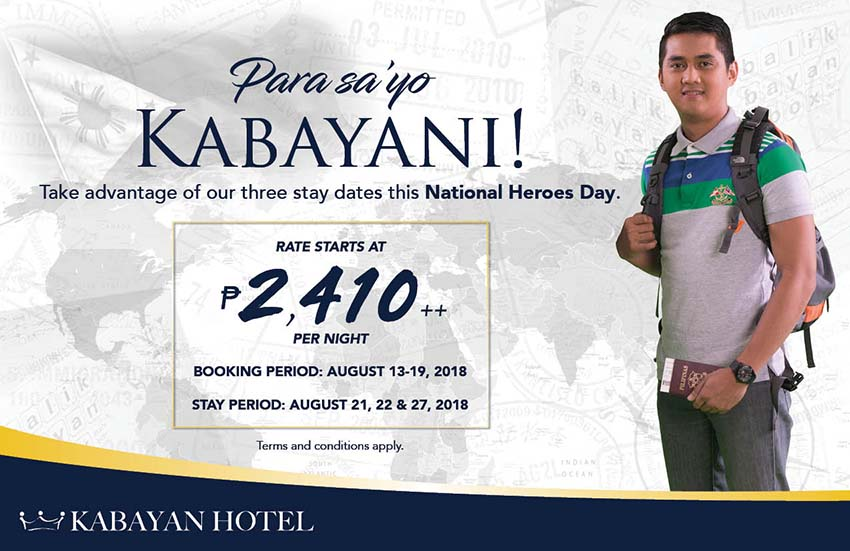 Para sa'yo 'to, Kabayang bayani! Book our National Heroes Day promo to enjoy rates as low as Php2,410++ per night.