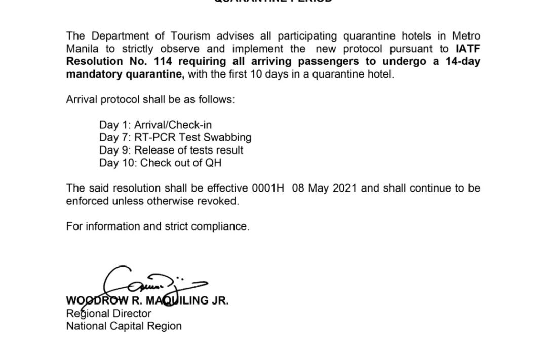 Quarantine hotels in Metro Manila to strictly observe and implement new protocol.